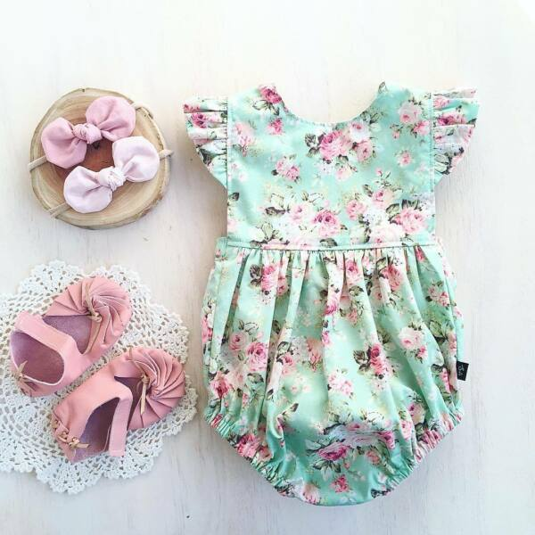 USA Newborn Baby Girl Ruffle Romper Jumpsuit Bodysuit Clothes Outfit Summer