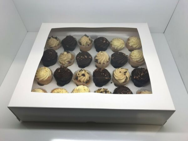 7 x White Windowed Mini Cupcake Boxes For 24 Cup Cakes With Removable Inner Tray