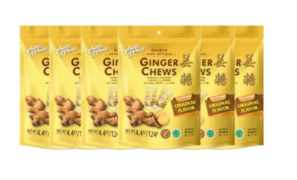 6 x Prince Of Peace 100% Natural Ginger Candy Chews 4.4 oz Each (ORIGINAL FLAV)