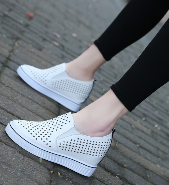 Womens Wedge Heel Sneakers Pointed Toe Breathable Sports Shoes Slip On Size