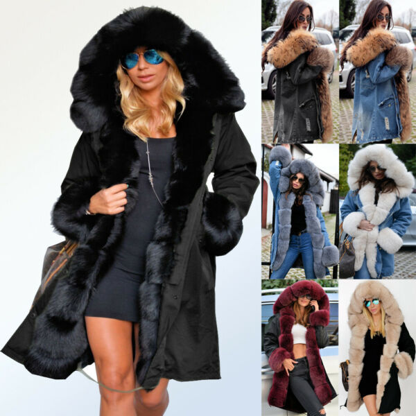 Roiii Womens Plus Size Faux Fur Parka Hooded Fur Lining Thicken Warm Winter Coat