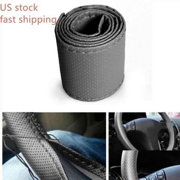 Grey DIY Car Truck PU Leather Steering Wheel Cover With Needles and Thread New