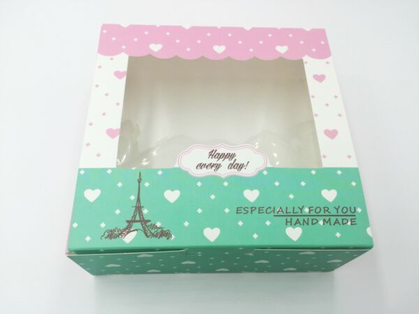 Cute Bakery Box for Cookie Cupcake Gift Party Pink Green Eiffel Tower 12ct