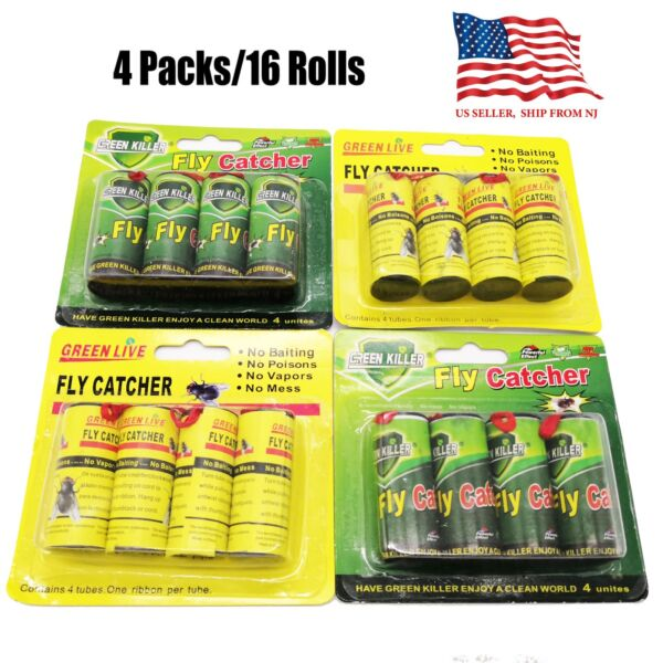 16 Rolls Sticky Fly Trap Paper Insect Bug Catcher Strip Fly Sticker non toxic $8.88