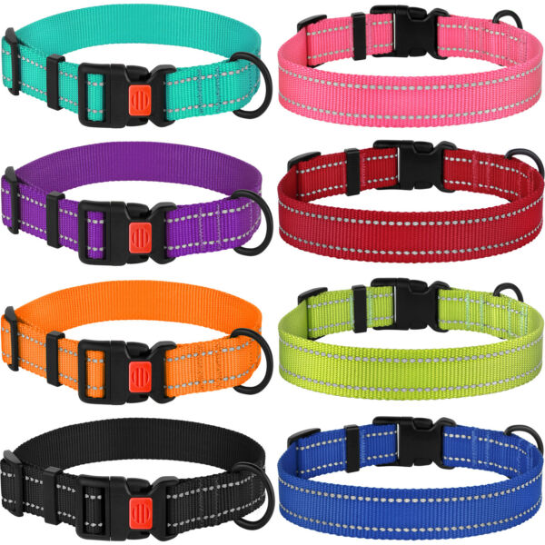 Reflective Dog Collar Safety Nylon Collars for Dogs Puppy with Buckle S M L $11.99