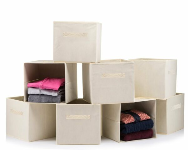 (8 PACK) Foldable storage boxes - Cube Basket storage bins - Beige collapsible