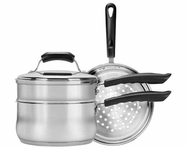 3 Qt Double Boiler Steamer With Lid Stainless Steel Cooking Pot Kitchen Saucepan $63.02