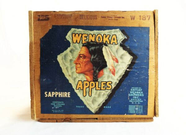 WENOKA APPLES VINT 1927 WOOD BOX CRATE SAPPHIRE ENTIAT GROWERS WASHINGTON  STATE