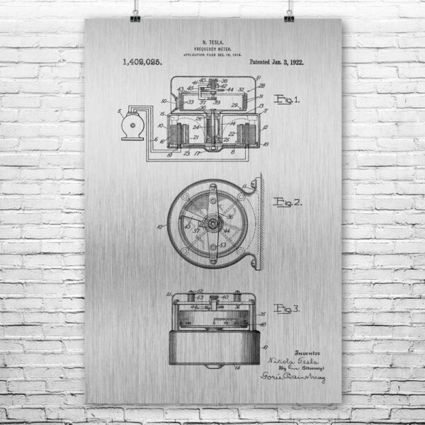 Nikola Tesla Frequency Meter Poster Print Laboratory Equipment Tesla Inventions