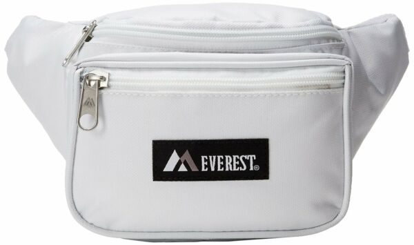 WHITE WAIST FANNY PACK 044KD EVEREST Travel Passport Walk Safe Hand Free Bag