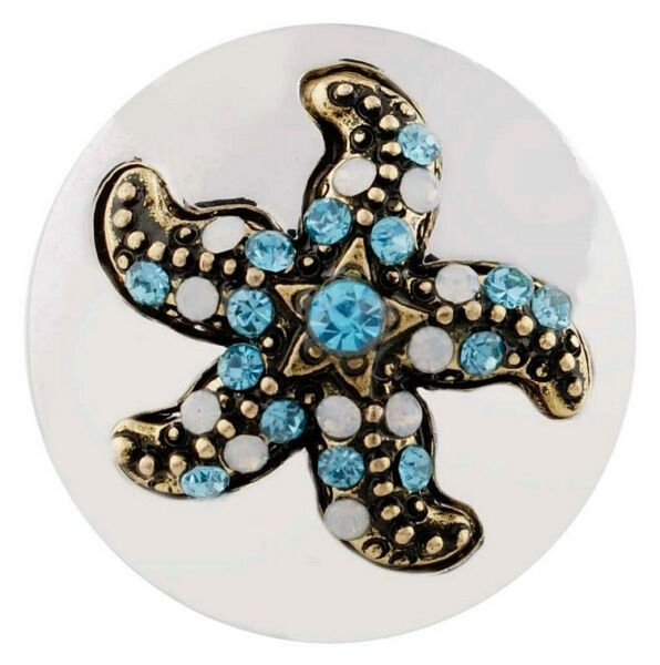 Opal Gold Blue Rhinestone Star Fish 20mm Snap Charm For Ginger Snaps Jewelry $6.26