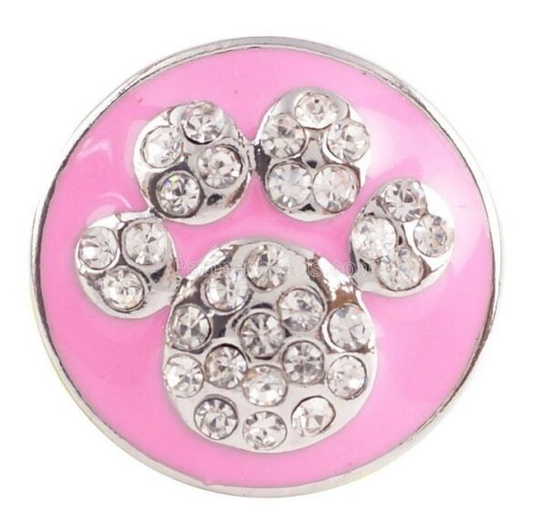 Pink Rhinestones Animal Paw Dog 20mm Snap Charm For Ginger Snaps Jewelry $5.95