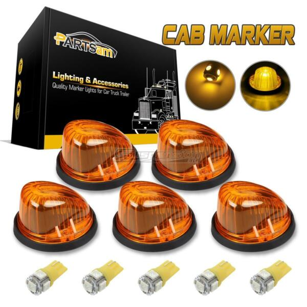 For ChevyGMC 73-87 Amber Lens 1313A Cab Roof Clearance Light+W5W 5050 Amber LED