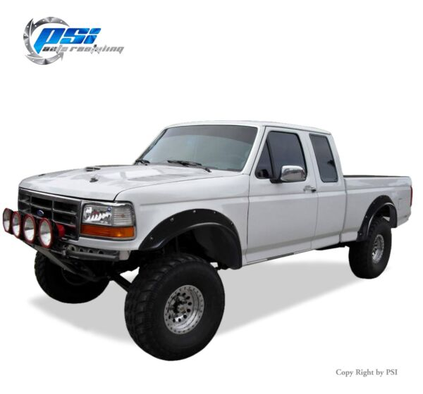 Black Paintable Pocket Bolt Fender Flares 92-96 Ford F-150 F-250 F-350 Bronco