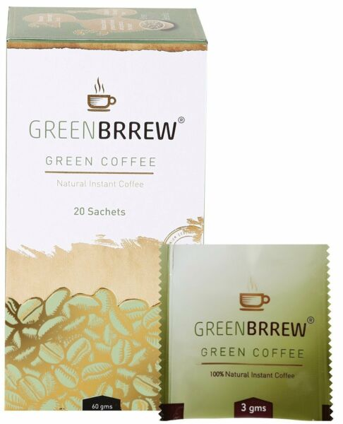 Greenbrrew Instant Green Coffee Beans Extract for Weight Loss - 20 Sachets 60g