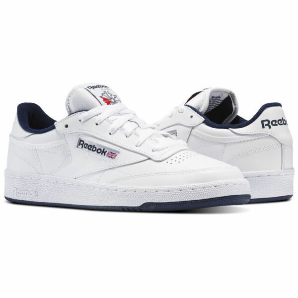 Reebok Classic Club C 85 White Navy Mens Casual Shoes Sneakers Sizes AR0457