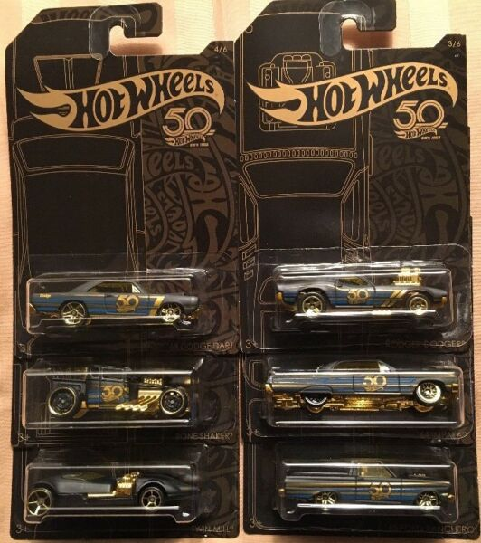 HOT WHEELS 2018  50TH ANNIVERSARY BLACK AND GOLD SERIES SET OF 6 FREE SHIPPING