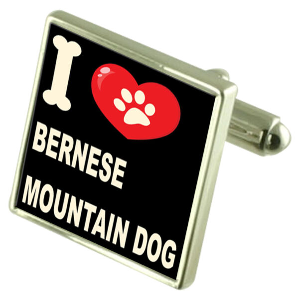 I Love My Dog Sterling Silver 925 Cufflinks Bernese Mountain