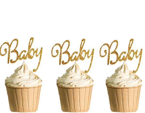 Polka Dot Sky Oh Baby Cupcake Toppers Birthday Gold Glitter Baby Shower 6pack