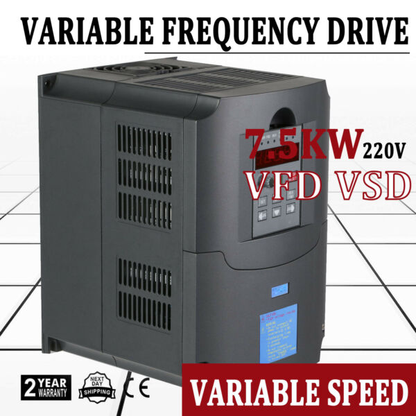 7.5KW 34A 220V 10HP VFD INVERTER SINGLE PHASE SPEED VARIABLE FREQUENCY DRIVE