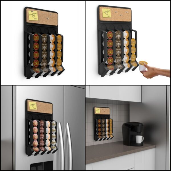 Coffee Tea Pod Fridge Holder Magnet Dispenser Rack Storage 20K-Cup with Cork Top