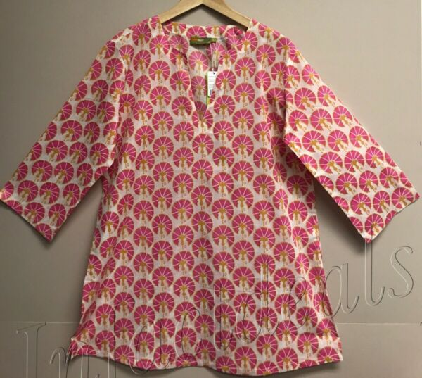 Women's RockFlowerPaper 100% Cotton Kurta tunic top Tezer Pink Size S Small