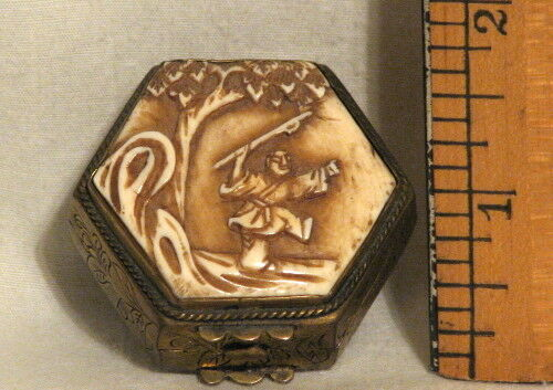 ANTIQUE CHINESE 6 SIDED PILL BOX - ETCHED BRASS with CARVED BONE LID