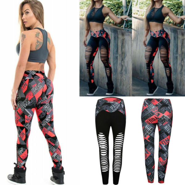 Women Sexy Ripped Yoga Fitness Leggings Running Gym Stretch Sport Pants Trousers