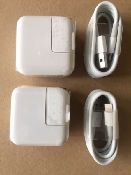 TWO SETs 12 Watt 2.4 AMP Wall Charger for iPad USB and 8 pin sync CABLE