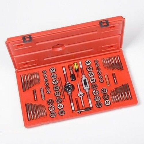 76PC Metric and SAE Steel Tap & Die Pipe Rod Threading Threader Tool Set