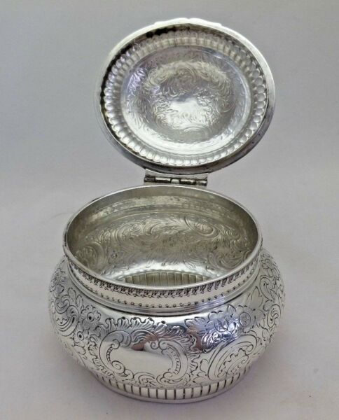 Georgian 1797 Antique Sterling Silver Large Tea Caddy Biscuit Box (753-9-LENY)