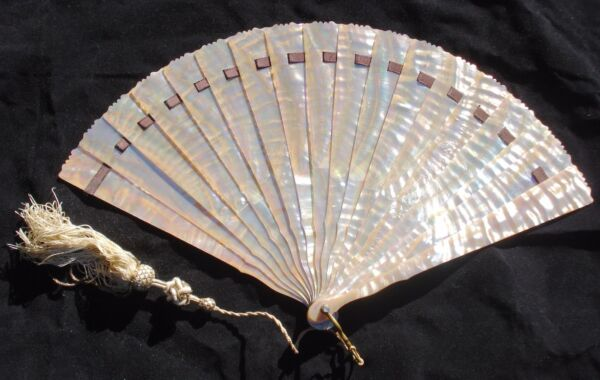 Antique French Mother of Peal Hand Fan in Original Box