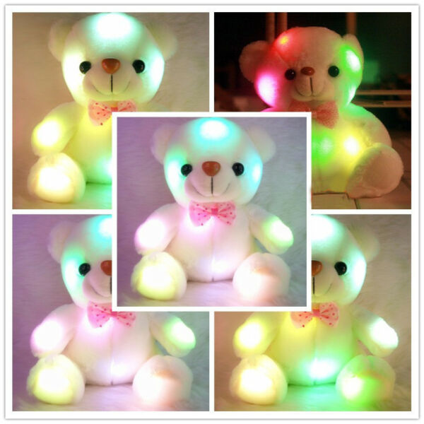 Lovely LED Cute Bear Stuffed Toys Lights for Girls Baby Kids Toy Birth Xmas Gift