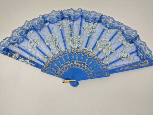 Spanish style laced rose flower design plastic frame Silk hand folding fan