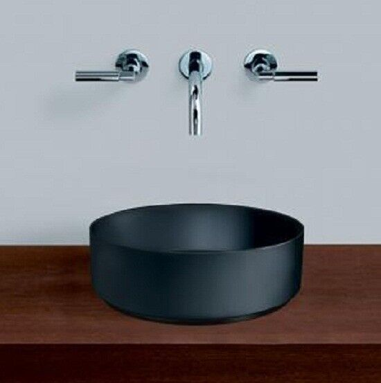 Alape UNISONO COUNTER BASIN Round No Taphole MATTE BLACK- 325mm 375mm Or 400mm