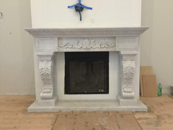 MASSIVE HAND CARVED SOLID MARBLE EUROPEAN DESIGN FIREPLACE MANTEL - RK5