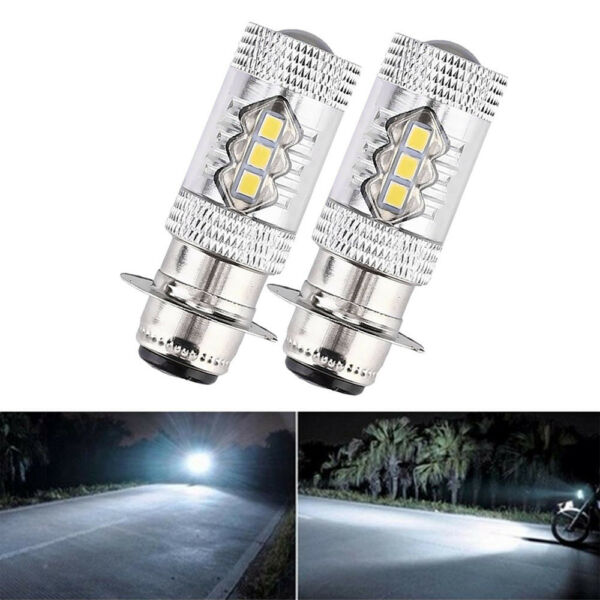 2x H6 6000K 80W 16 LED Headlight Projector Motorcycle White Light HiLo Bulb New