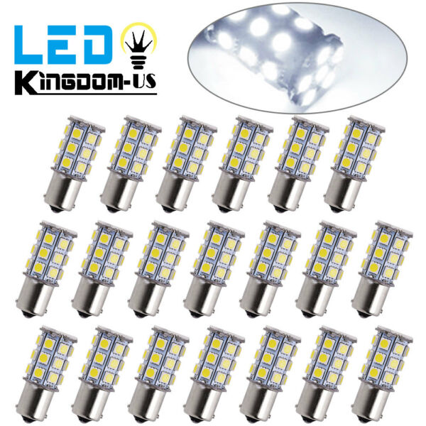 20x Super White 1156 27-SMD RV Camper Trailer LED Interior Light Bulbs 1141 12V