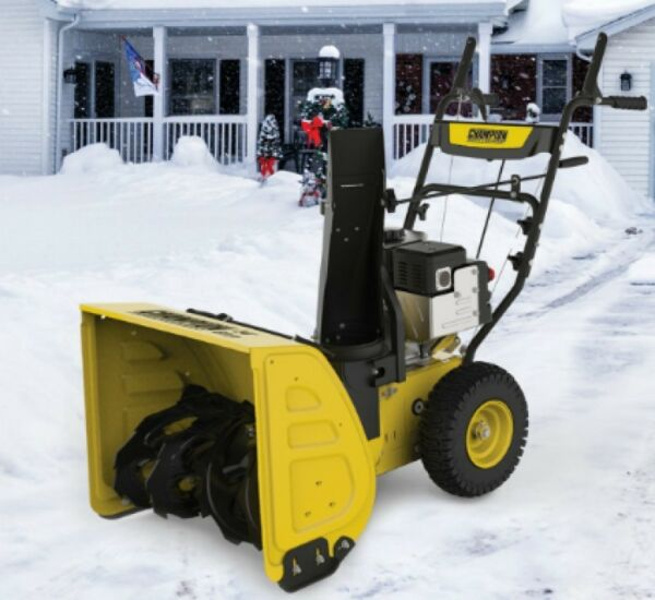 Gas Snow Blower with Electric Start 2 Stage 224cc Move 24 Inch Walk Behind Plow