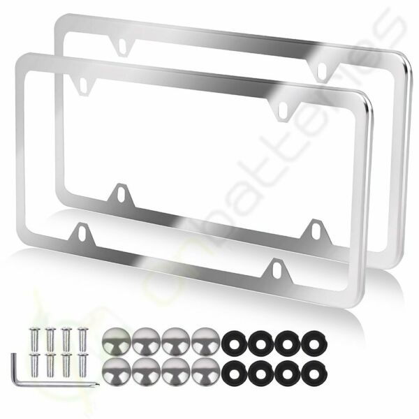 2pcs Slim Silver Stainless Steel License Plate Frame 4 Hole for CadillacSubaru