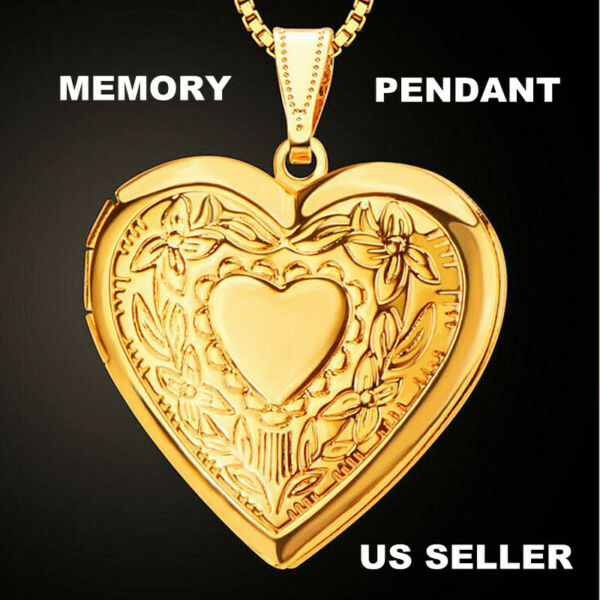 18K Yellow Gold Plated Heart Shaped Locket Hinged Photo Memory Necklace Pendant