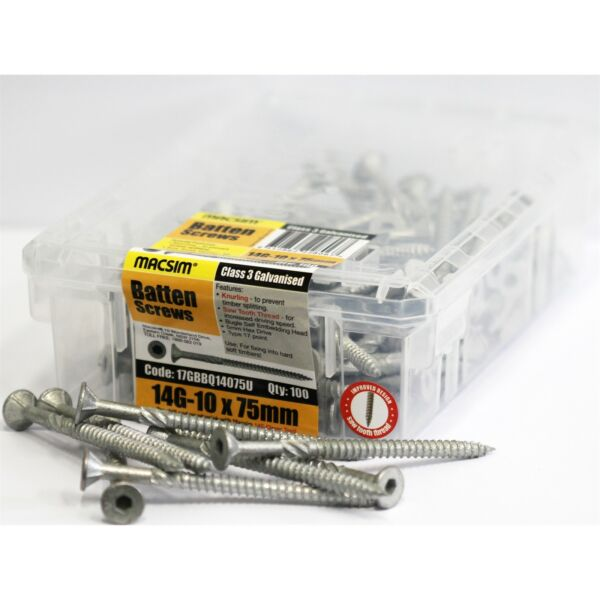 Macsim Fasteners GALVANISED BATTEN SCREWS 14G-10x75mm*AUS Brand-100Pcs Or 500Pcs