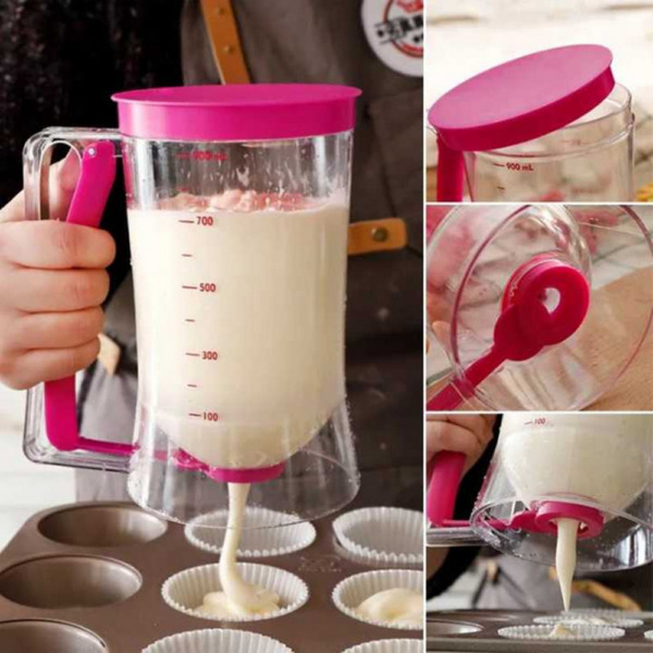 900ml Pancake Batter Dispenser Measuring Cup Cupcake Kitchen DIY Baking Tool USA