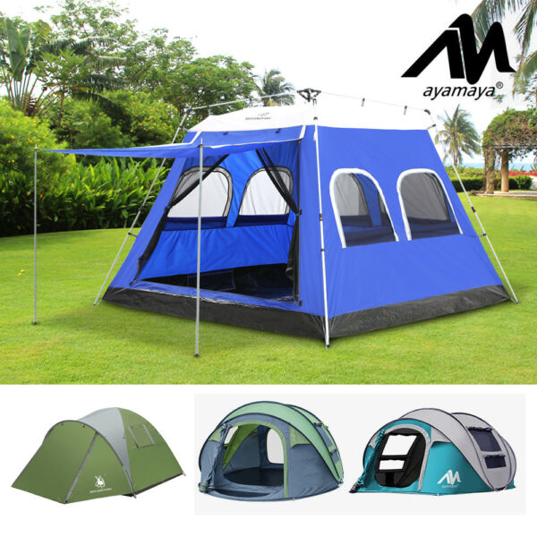 4-5 Person Outdoor Instant Pop Up Tent Double Layer Shelter for Camping Hiking