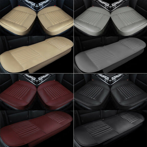 PU Leather Car Seat Cover Full Surround Front Rear Seat Mat Cushion Protector 3D