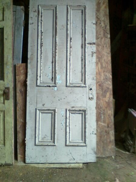 Antique Butternut Victorian late 1800#x27;s Solid Wood Door w raised moldings 4 pane $140.00