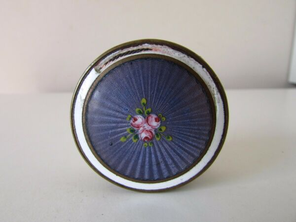 ANTIQUE GUILLOCHE ENAMEL HAND PAINTED ROSES BRASS BRONZE PILL BOX