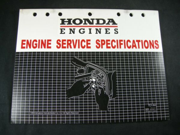 1998 Honda Equipment Engines Service Specifications Manual Book Catalog List