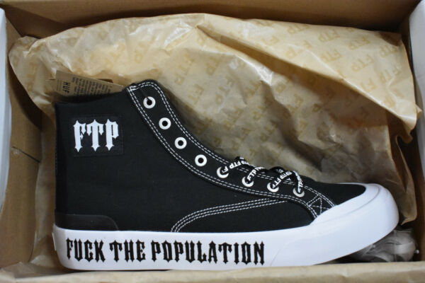 SHOES FTP X HUF HIGH TOP BLACK AND WHITE MENS SNEAKERS SIZE 9 supreme  RARE NEW*