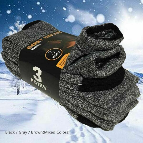 3 Pairs Mens Winter Heavy Duty Warm Thermal Crew Work Boots Socks Size 9-13